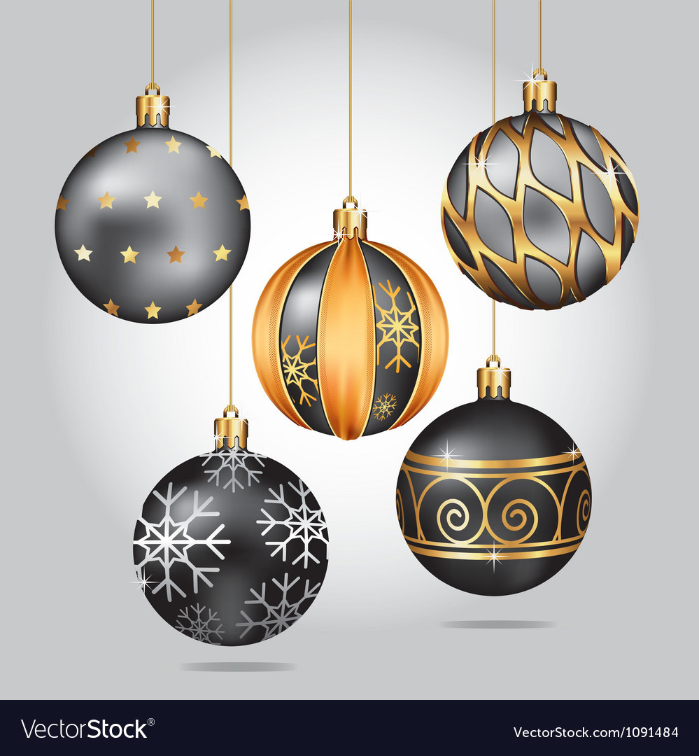 Hanging Christmas ornaments Beautiful Black Christmas ornaments Hanging On Gold Thread Vector Image Of Luxury 45 Pictures Hanging Christmas ornaments