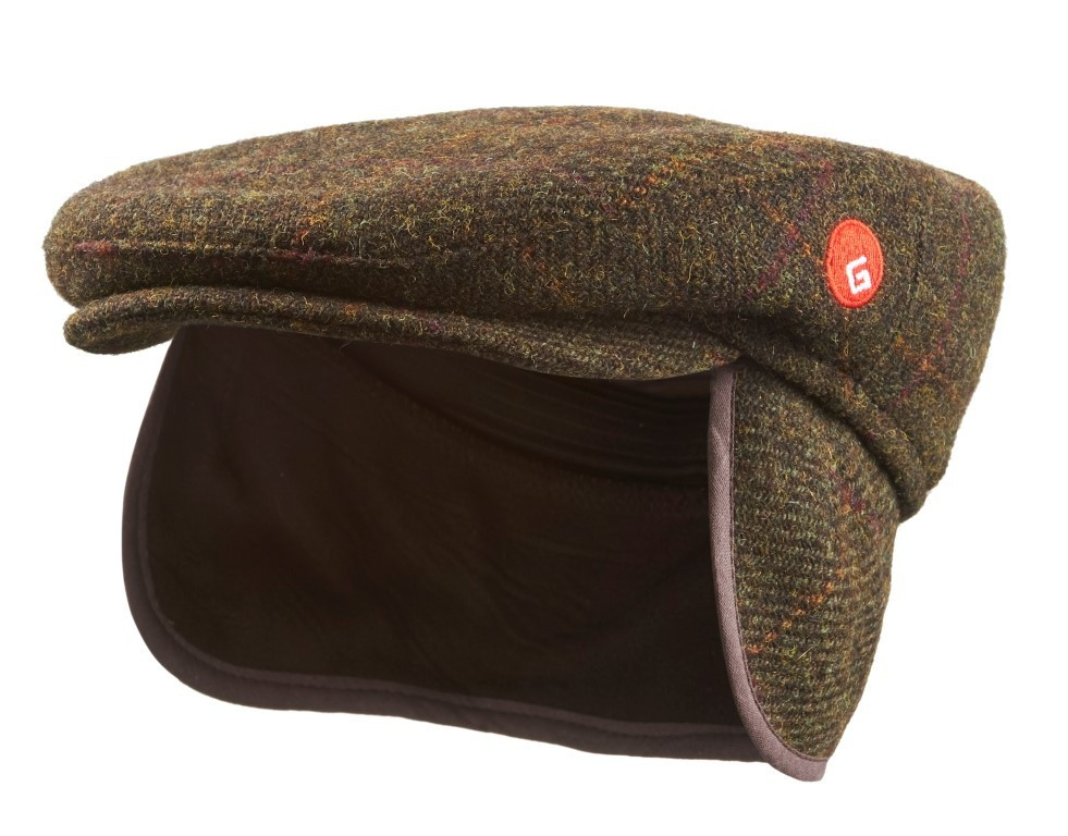 Harris Tweed Flat Cap with Ear Flaps – olive