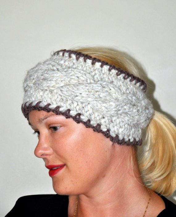 Hat with Ponytail Hole Awesome Headband Ponytail Hole Knit Earwarmer Choose Color Cabled Warm Of Superb 42 Pictures Hat with Ponytail Hole