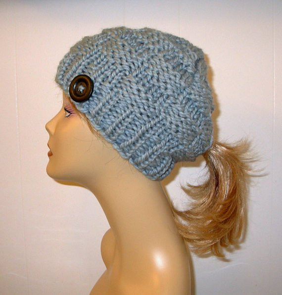 Hat with Ponytail Hole Beautiful Gray Chunky Knit Ponytail Hat Beanie Grey Pony by Of Superb 42 Pictures Hat with Ponytail Hole