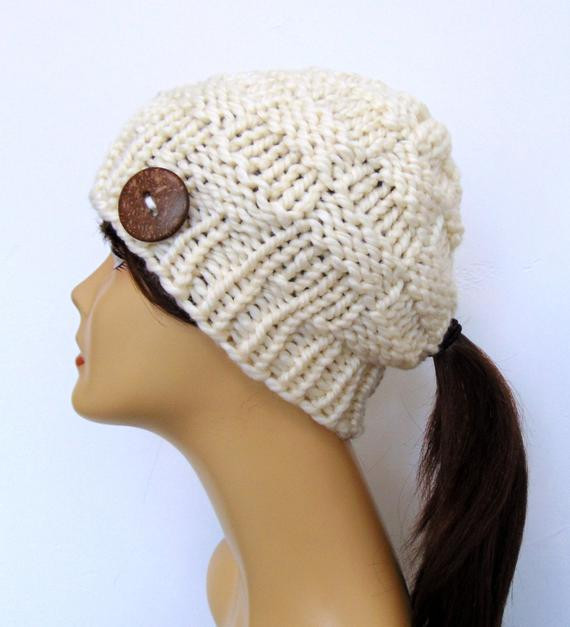 Hat with Ponytail Hole Best Of Chunky Knit Ivory Cream Ponytail Hat Beanie Pony Tail Hole Of Superb 42 Pictures Hat with Ponytail Hole