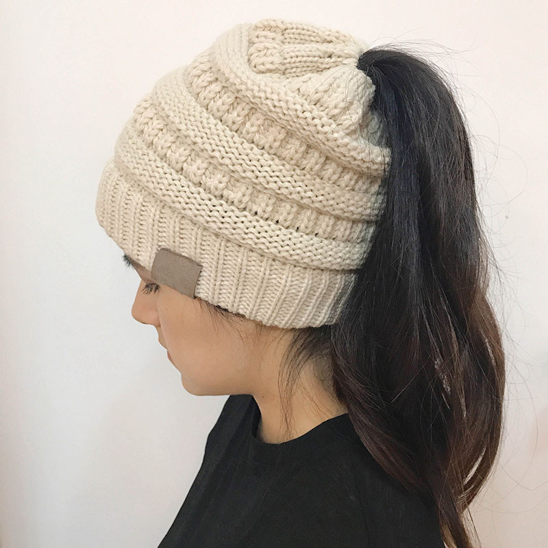 Hat with Ponytail Hole Lovely Women Girl High Bun Ponytail Stretchy Knitted Beanie Hat Of Superb 42 Pictures Hat with Ponytail Hole