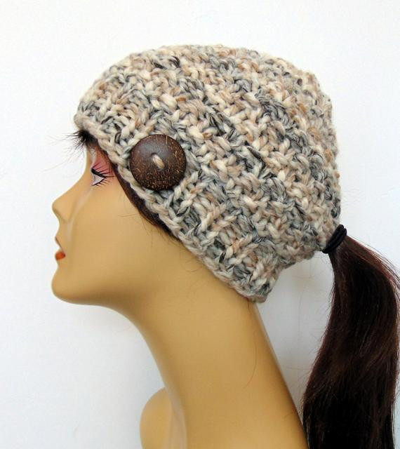 Chunky Knit Ponytail Hat Beanie Brown Ivory Taupe Pony Tail