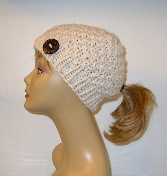 Hat with Ponytail Hole Unique Chunky Knit Pony Tail Hat Moss Stitch Beanie by Of Superb 42 Pictures Hat with Ponytail Hole