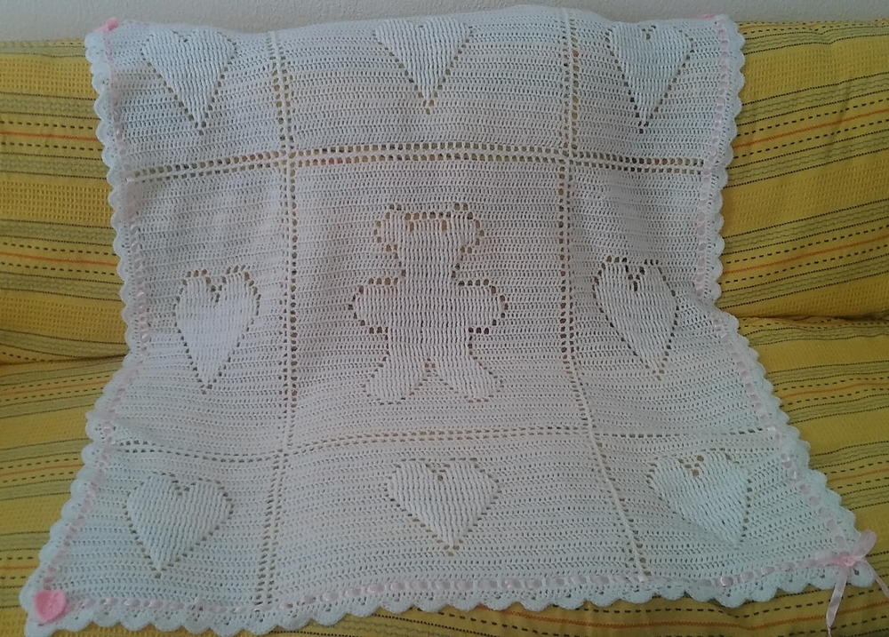 Teddy and Hearts Baby Blanket