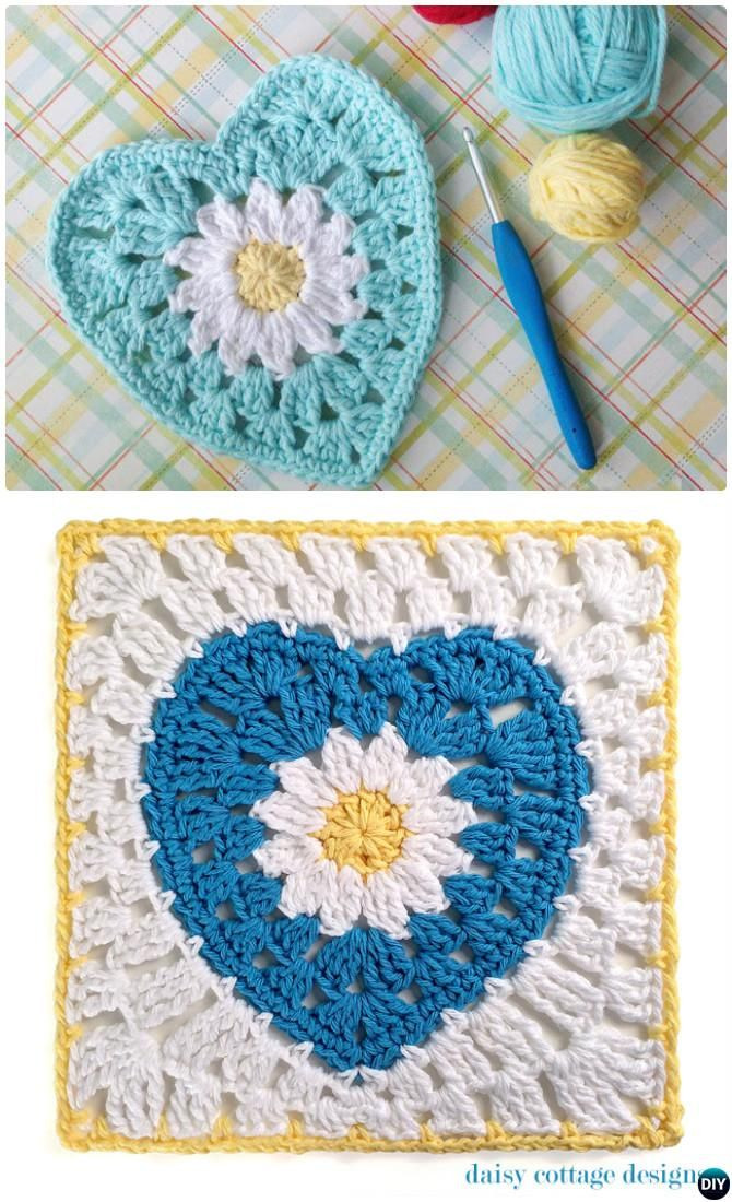 Heart Afghan Crochet Pattern Fresh Crochet Daisy Flower Heart Granny Square Free Pattern Of Top 48 Models Heart Afghan Crochet Pattern