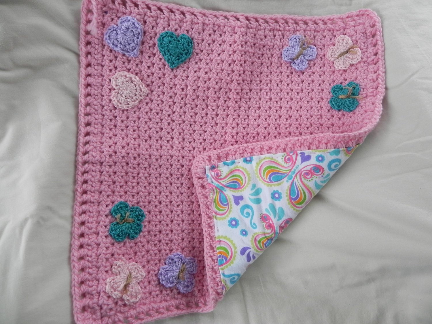 Heart Baby Blanket Awesome Pink butterfly and Heart Baby Blanket Crochet with Flannel Of Adorable 45 Pictures Heart Baby Blanket
