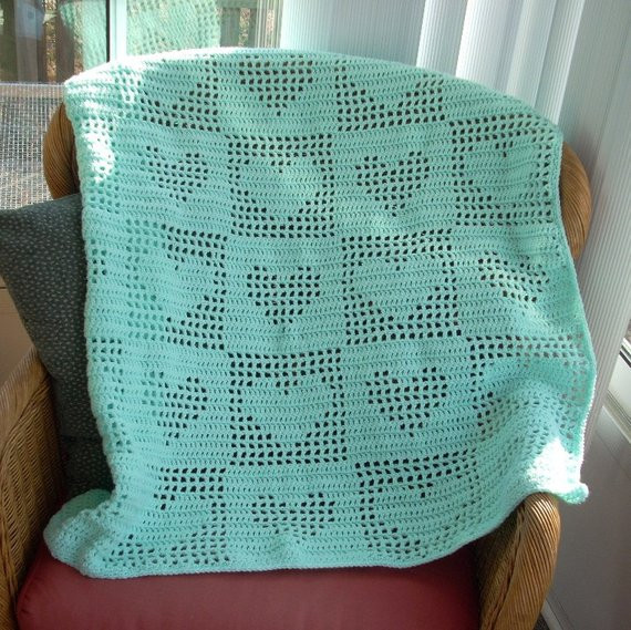 Heart Baby Blanket Inspirational Free Shipping Filet Crochet Tender Hearts Baby or Lap Afghan Of Adorable 45 Pictures Heart Baby Blanket