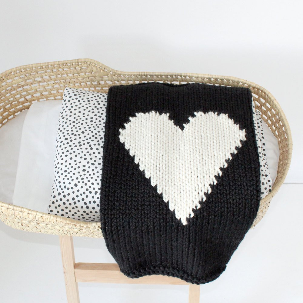 Heart Baby Blanket Black and Cream Hand Knit for Bassinet