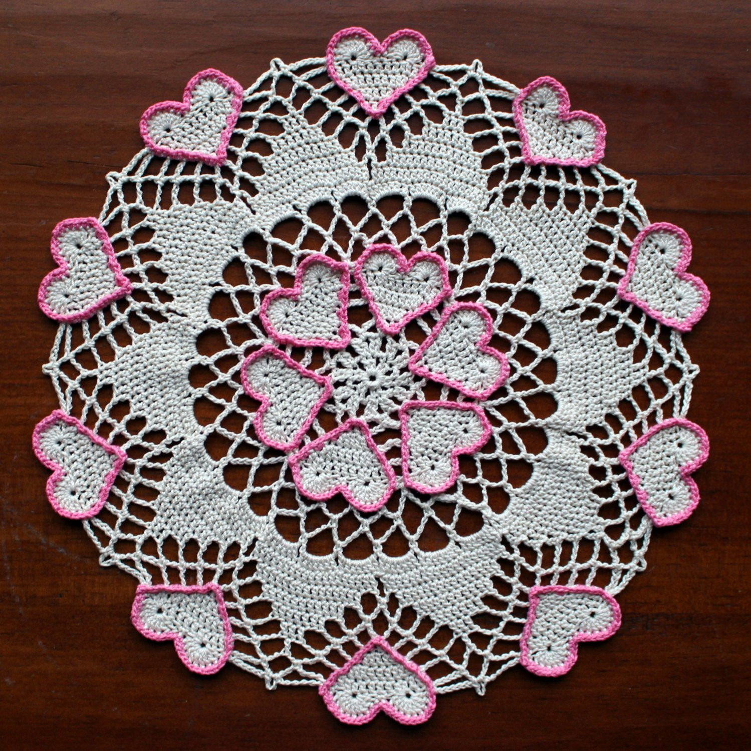 Heart Doilies Beautiful Crochet Doily Ecru with Hearts Outlined In Pink Of Marvelous 46 Photos Heart Doilies