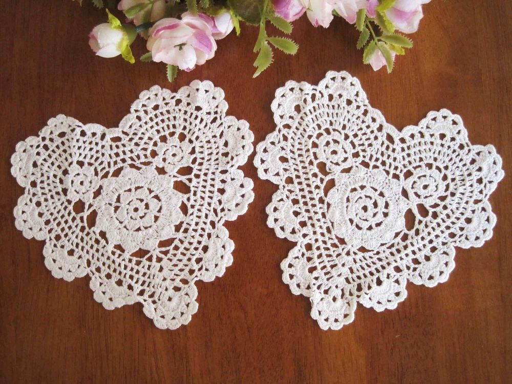 "Heart Doilies Fresh Two Chic Hand Crochet Heart Shape Cotton Doily White 6"" Of Marvelous 46 Photos Heart Doilies"