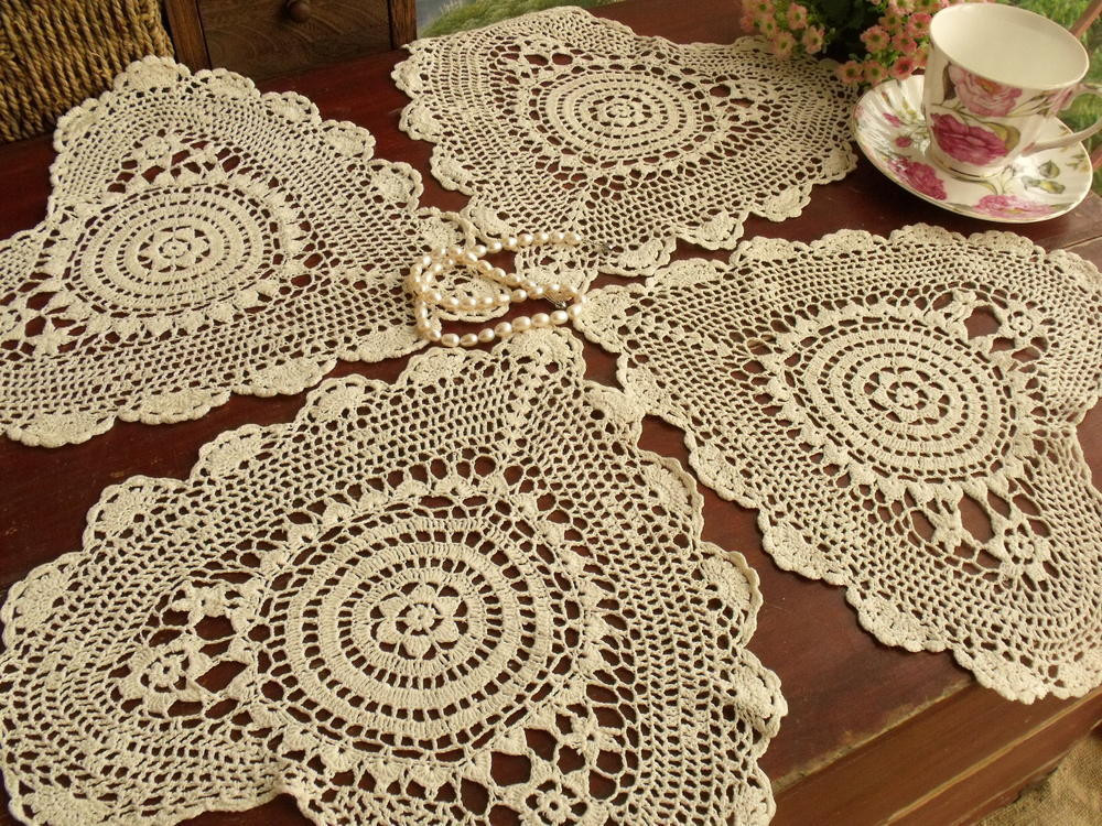 Heart Doilies Lovely Set Of 4pcs Vintage Hand Crocheted Doily Lot Cotton Lace Of Marvelous 46 Photos Heart Doilies