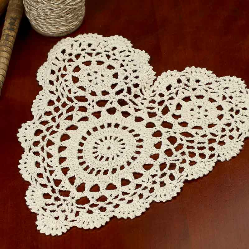 Ecru Heart Crocheted Doily Crochet and Lace Doilies