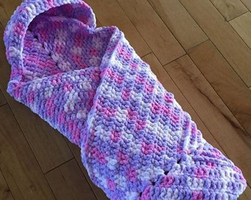 Cuddly Snuggly Hooded Crochet Baby Blanket