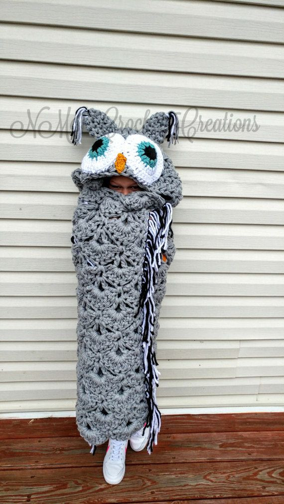 Crochet Hooded Owl Blanket Pattern