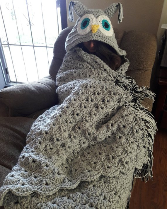 Hooded Owl Blanket Elegant Crochet Hooded Owl Throw Blanket Blanket Crochet Blanket Of New 47 Images Hooded Owl Blanket