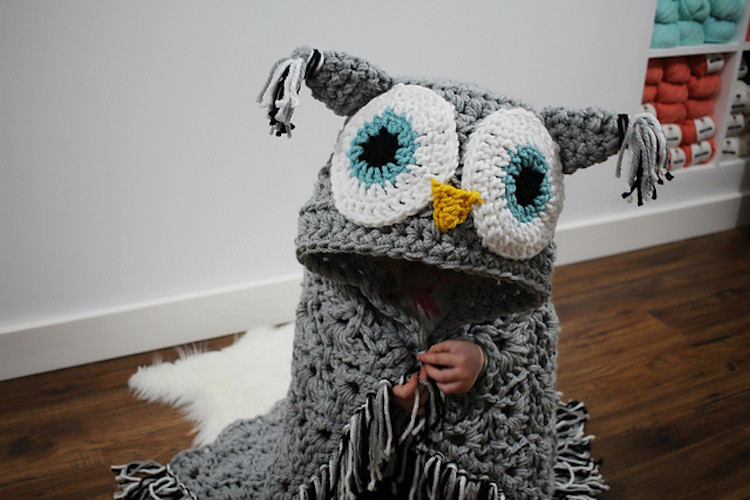 DIY Hooded Owl Blanket Turns a Couch Potato into a Cozy