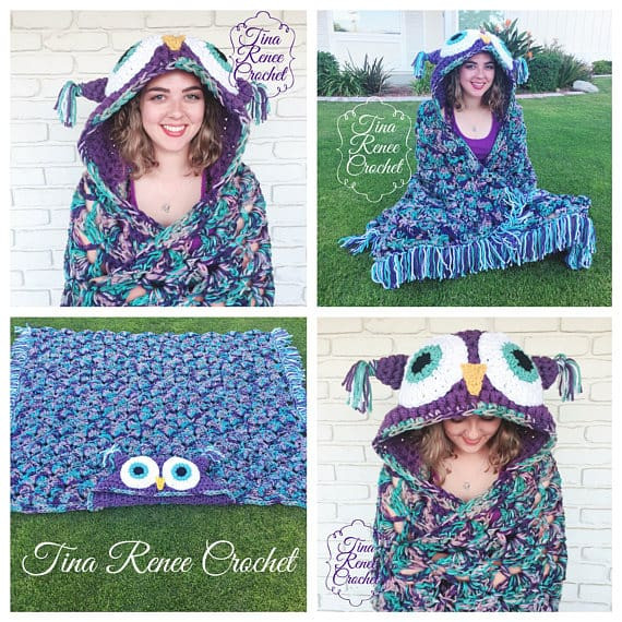 Hooded Owl Blanket Unique Crochet Owl Hooded Blanket Video Tutorial Included Of New 47 Images Hooded Owl Blanket
