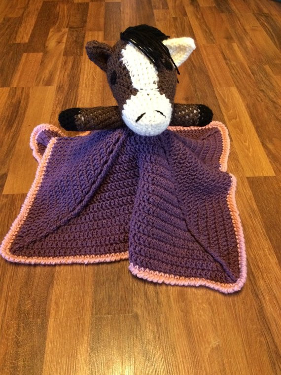 Horse Baby Blanket Unique Baby Girl Horse Lovey Security Blanket by thefancymoose On Of Unique 48 Ideas Horse Baby Blanket