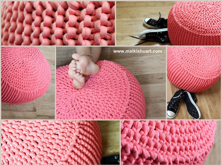 crocheted & knitted pouf made of T shirt yarn cotton yarn