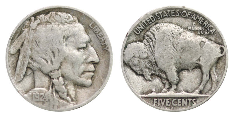 1924 D Buffalo Nickels Indian Head Nickel Line Type
