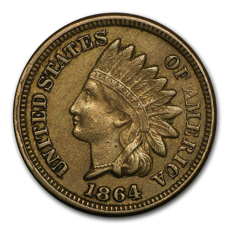 1864 Indian Head Cent Copper Nickel AU