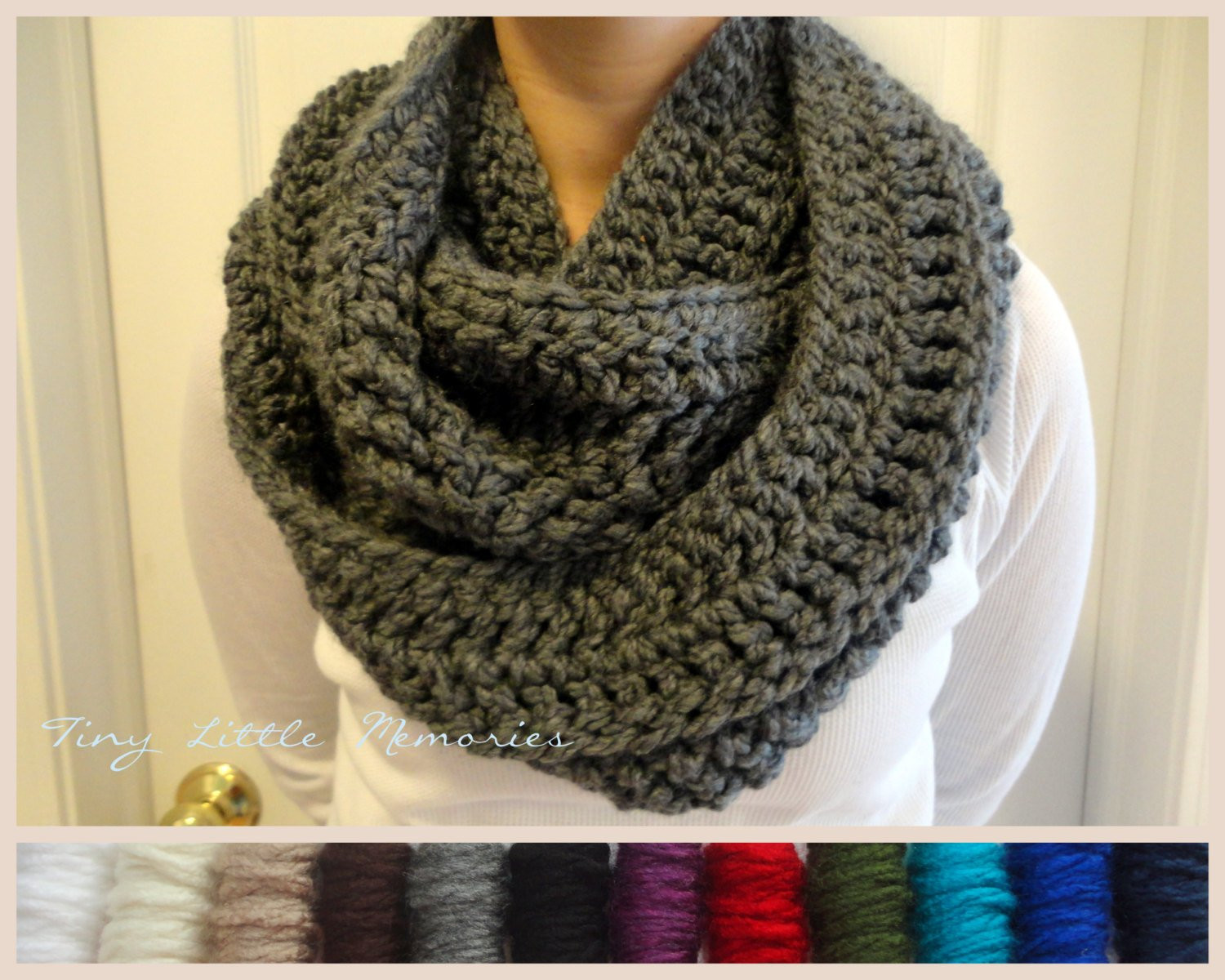 Charcoal Gray Infinity Scarf Crocheted Winter Scarf Circle