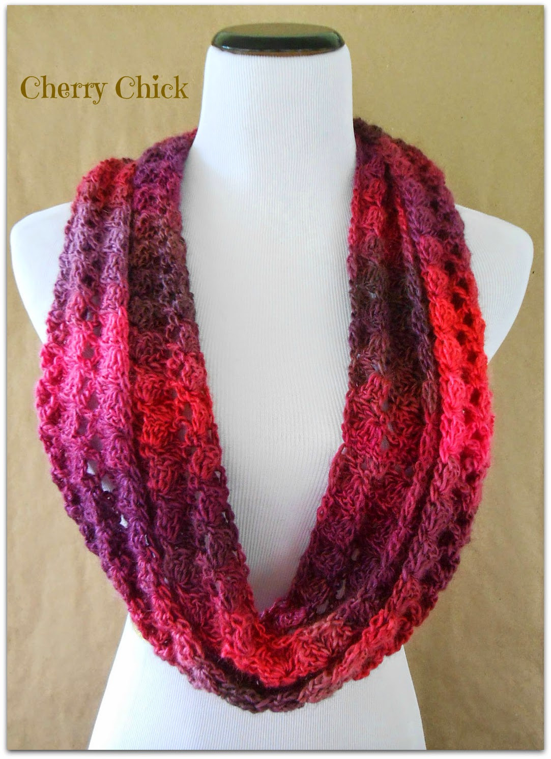 Vintage Cherry Shop New Colors Lacy Crochet Infinity Scarf
