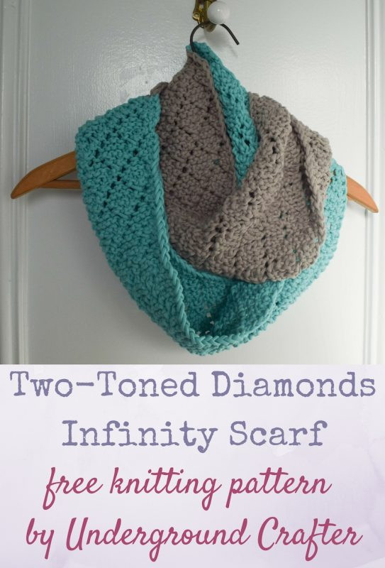 Knitting Pattern Two Toned Diamonds Infinity Scarf