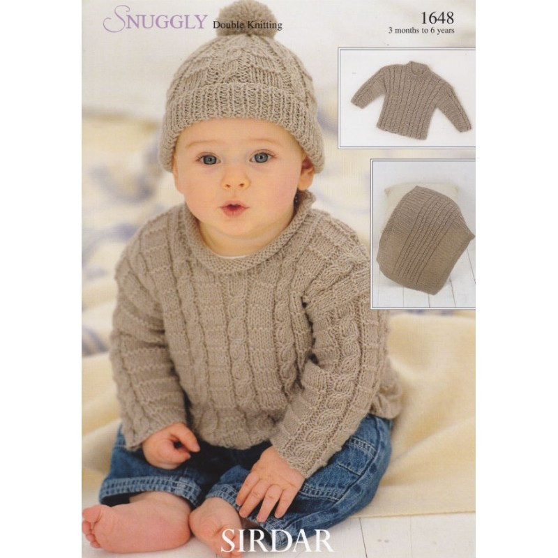 1648 Sirdar Snuggly DK Boys Cabled Sweater Hat and
