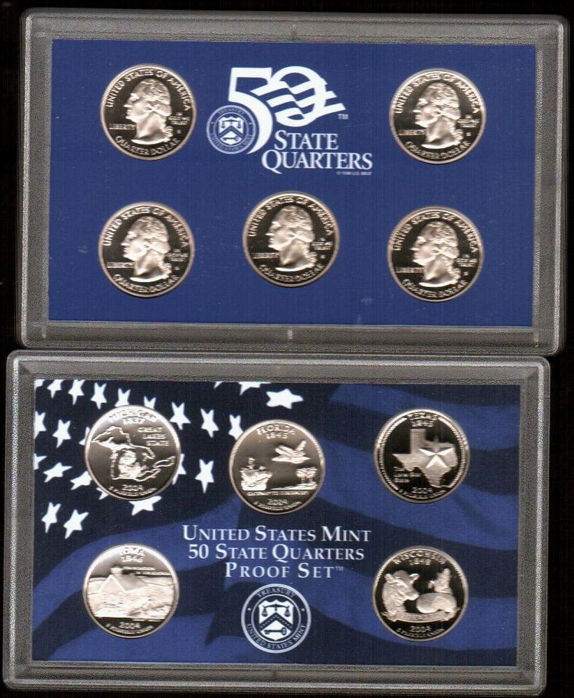 "Inspirational 2004 ""50 State Quarters"" 5 Clad Coin Proof Set In origianl State Quarter Set Of Superb 44 Pictures State Quarter Set"