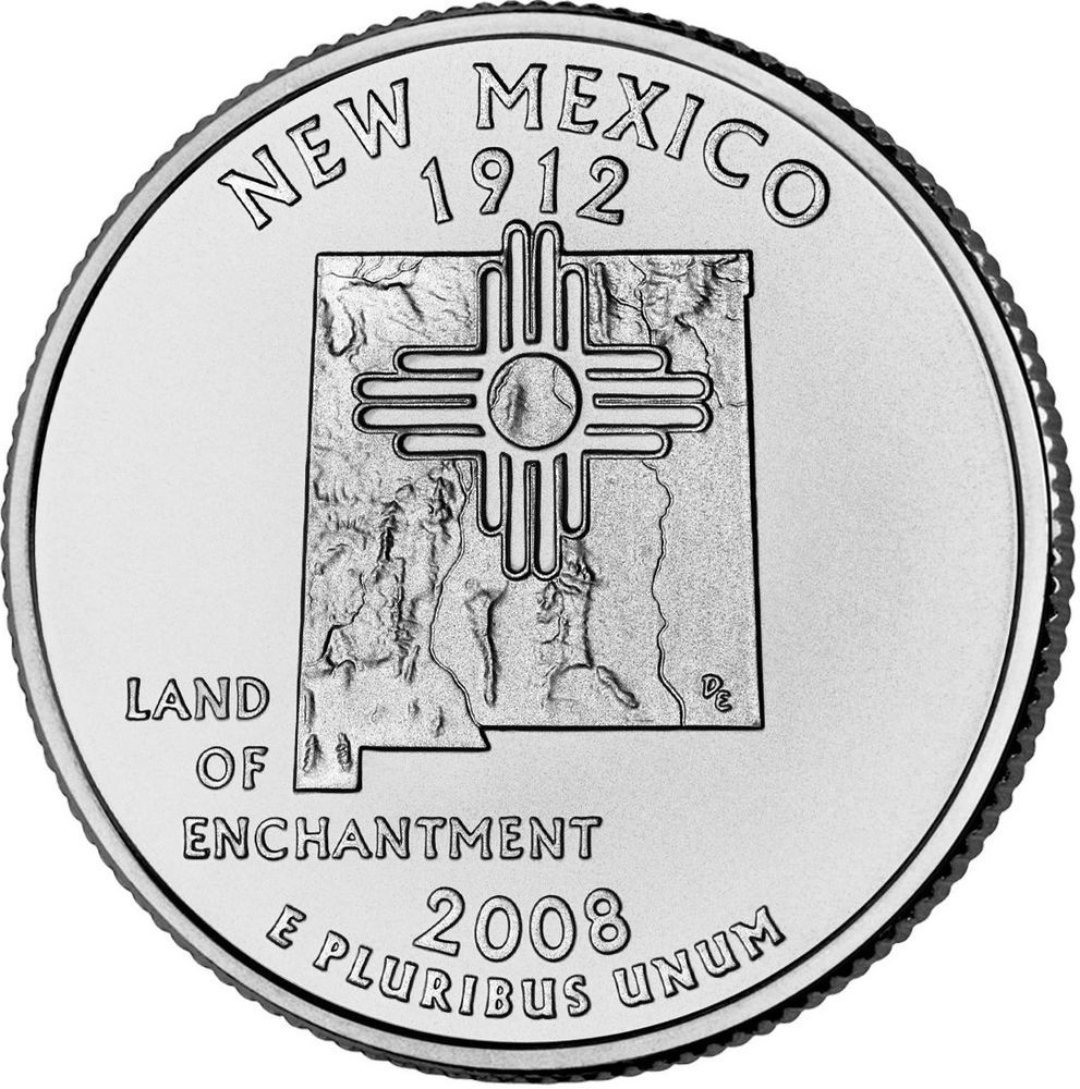 "Inspirational 2008 P New Mexico State Quarter New U S Mint ""brilliant State Quarter Mintage Of Unique 41 Models State Quarter Mintage"