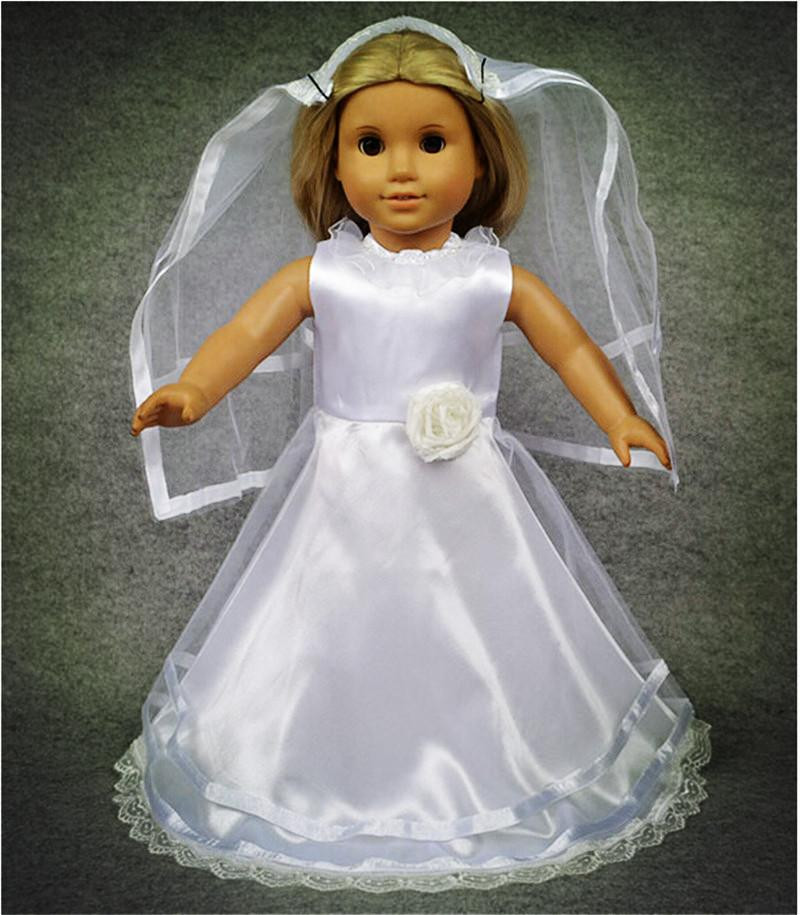 2015 Romantic Wedding Dress Clothing For Dolls Mini White