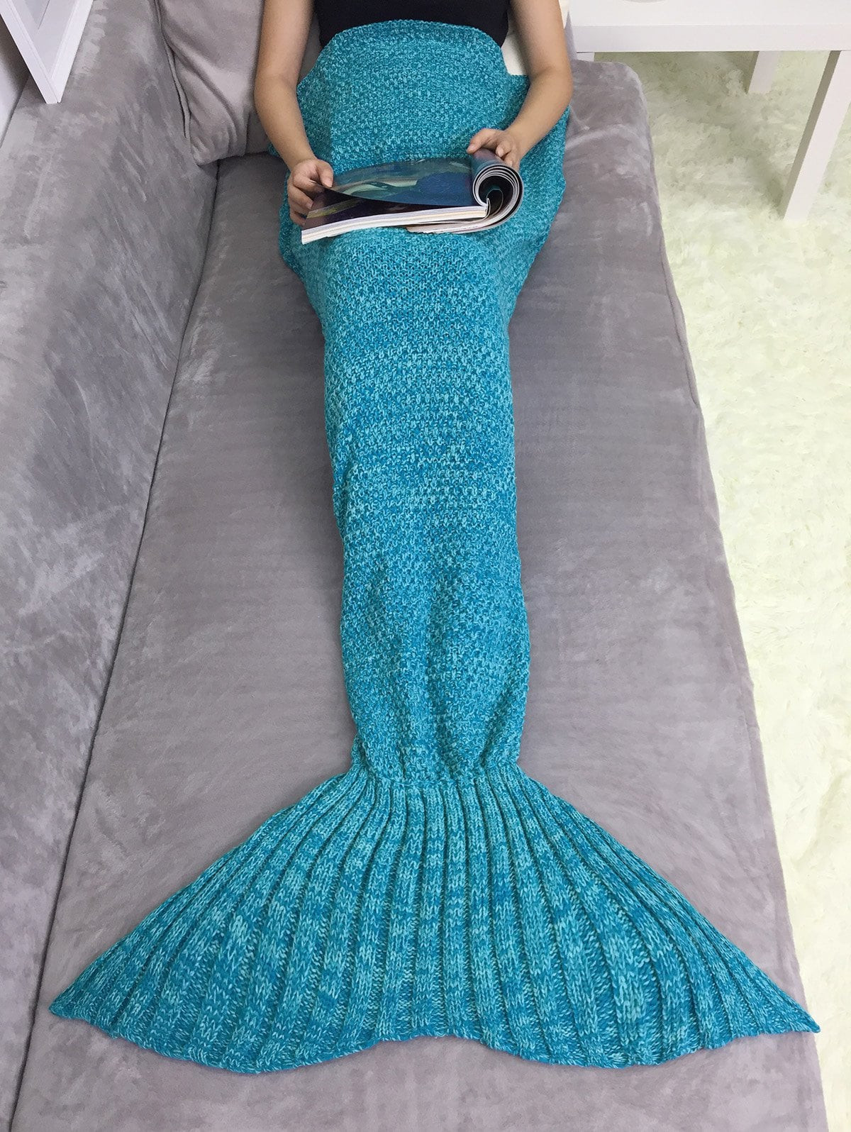 Inspirational 2018 Super soft Acrylic Knitting Mermaid Tail sofa Blanket Knitted Mermaid Blanket Of Great 41 Images Knitted Mermaid Blanket