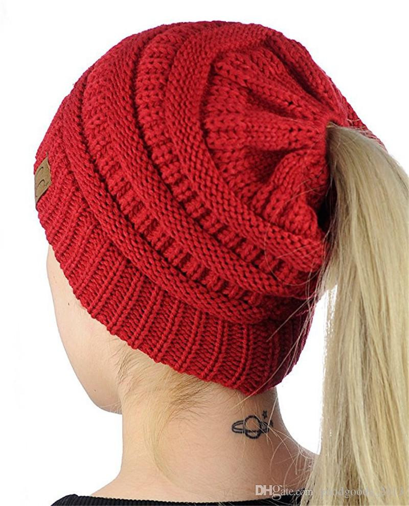 Inspirational 2018 Women Cc Ponytail Caps Cc Knitted Beanie Fashion Ponytail Winter Hat Of Incredible 45 Pictures Ponytail Winter Hat
