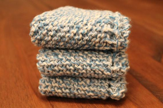 Inspirational 3 Hand Knitted Dish Cloths Dish Rags Cotton Blue Knitted Dish Rags Of New 45 Ideas Knitted Dish Rags