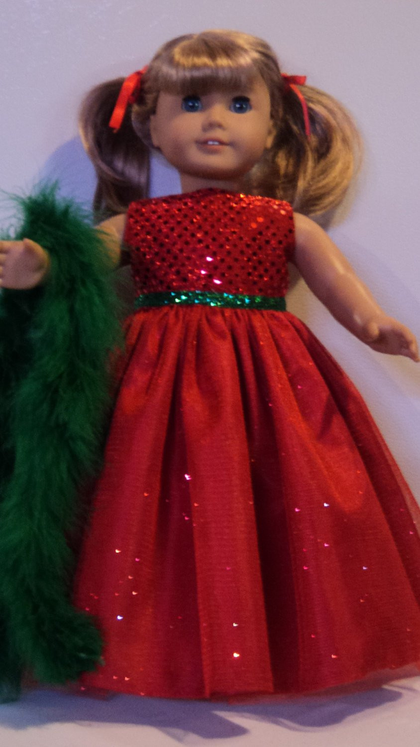 American Girl Doll Clothes Christmas Gown & Boa
