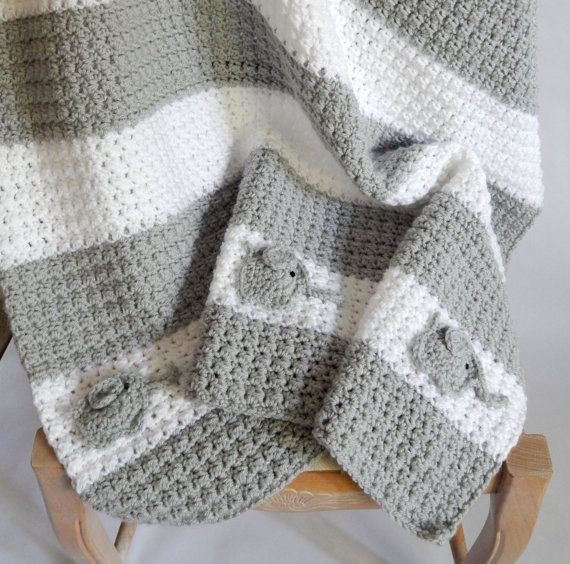 Inspirational as Seen On Tv Crocheted White and Grey Blanket with Elephant Baby Blanket Crochet Pattern Of Lovely 43 Pics Elephant Baby Blanket Crochet Pattern