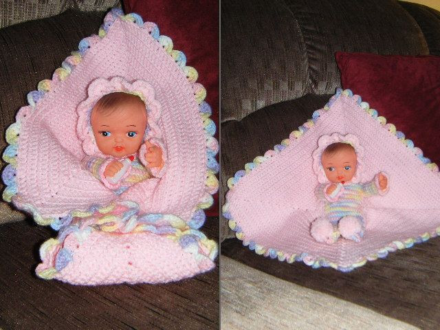 Baby doll with attached blanket crochet
