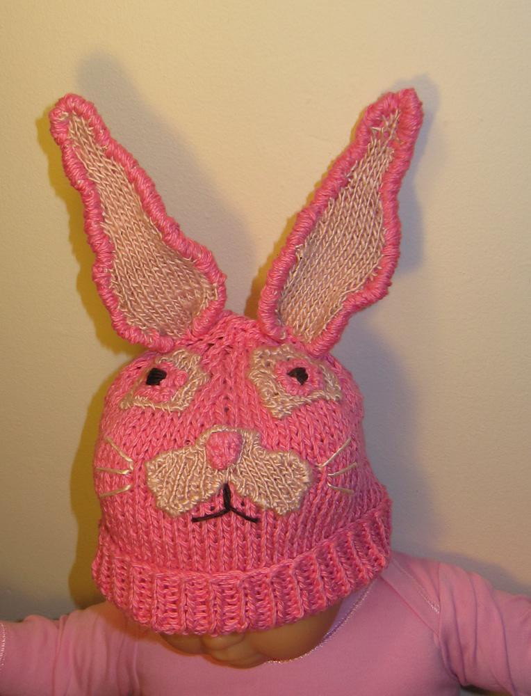 baby easter bunny beanie knitting pattern by madmonkeyknits