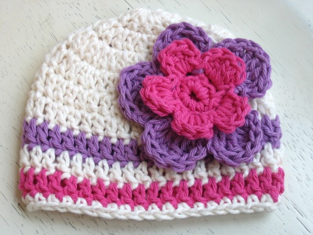 Inspirational Beanie Baby Hat with Flower Pattern Cream Pink Purple toddler Crochet Hat Pattern with Flower Of Luxury 50 Ideas toddler Crochet Hat Pattern with Flower