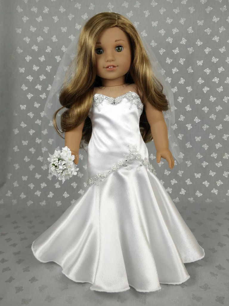Inspirational Beautiful Wedding Dress for American Girl Doll 02 American Girl Doll Wedding Dress Of Beautiful American Girl Doll Wedding Dress Satin and Silver American Girl Doll Wedding Dress