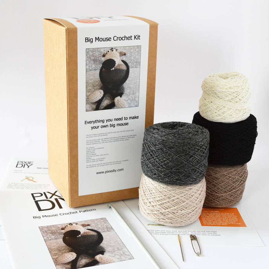 big mouse learn to crochet kit by warm pixie diy