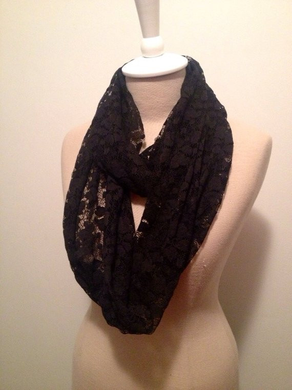 Inspirational Black Lace Knit Infinity Scarf by Capurrocustoms On Etsy Lace Infinity Scarf Of Charming 45 Ideas Lace Infinity Scarf
