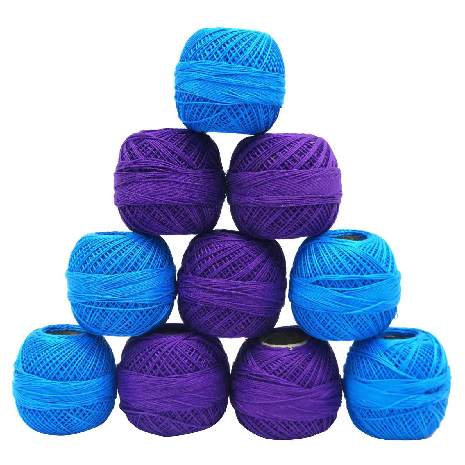 Blue Cotton Crochet Thread Skein Yarn Kniting Embroidery