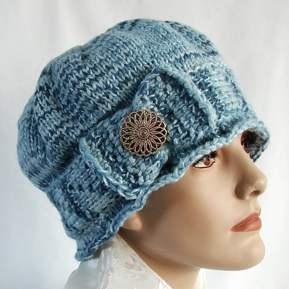 Inspirational Blue Knit Cloche Hat 1920s Style Knit Hat Hand Knit by Jolay Knit Cloche Hat Of Attractive 40 Photos Knit Cloche Hat