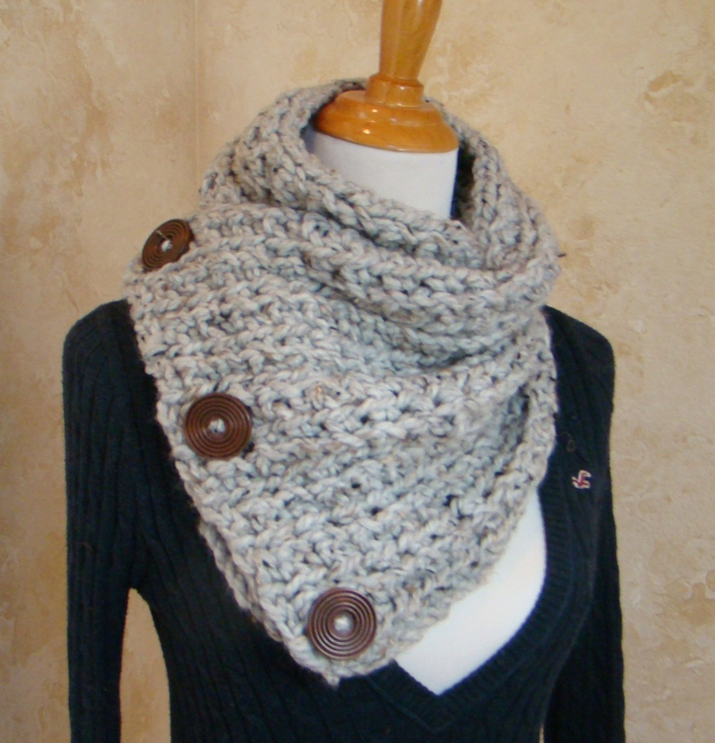 Inspirational Boston Habor Style Scarf 3 button Scarf Grey Tweed Crochet Crochet button Scarf Of Top 47 Images Crochet button Scarf