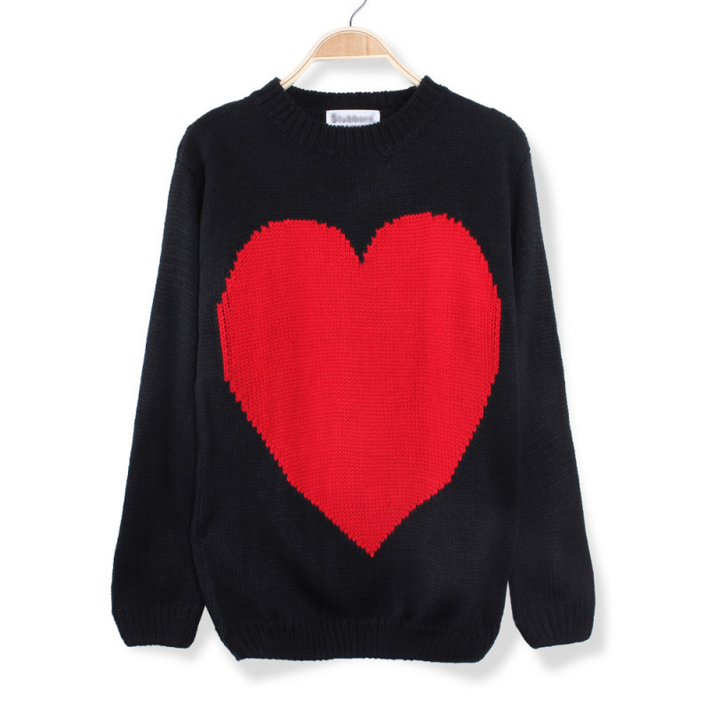 Inspirational Buy Casual Big Red Heart Printed Knitted Pullover Sweater Red Heart Sweater Of Lovely 32 Ideas Red Heart Sweater