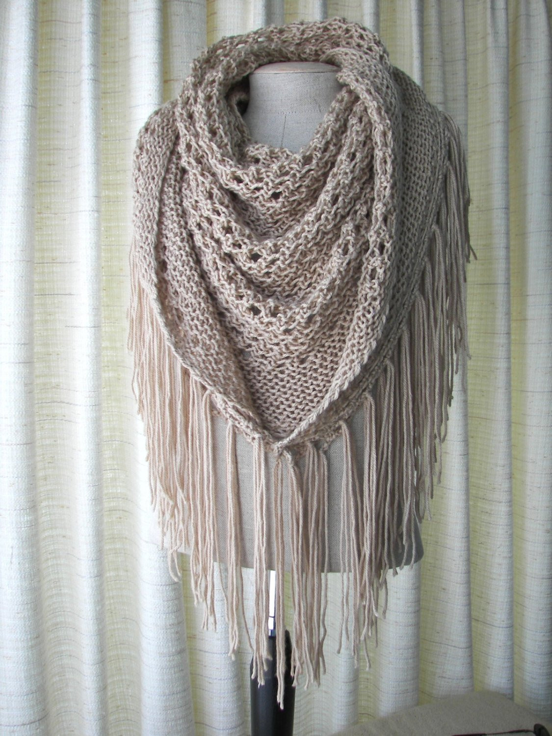 Inspirational Cappuccino Hand Knit Shawl Triangle Scarf Fringes In Anti Pill Knitted Shawl Wrap Of Superb 49 Images Knitted Shawl Wrap
