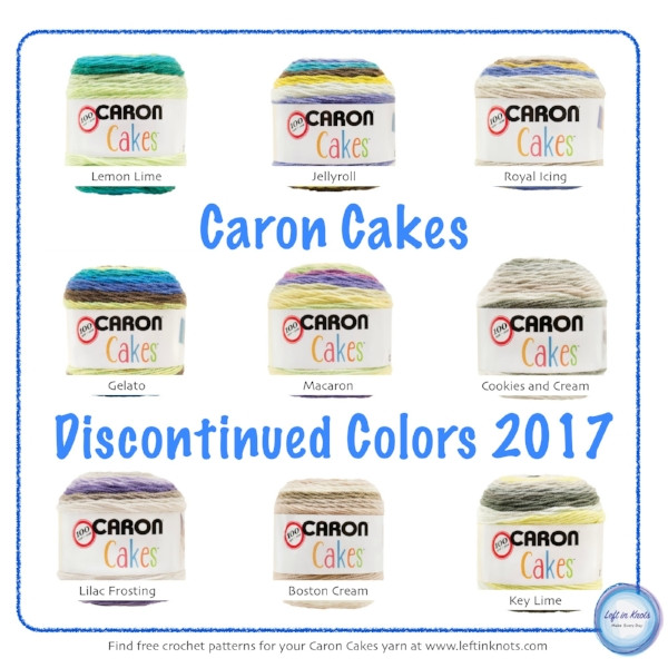 Caron Cakes News 8 NEW colors and 9 DISCONTINUED — Left